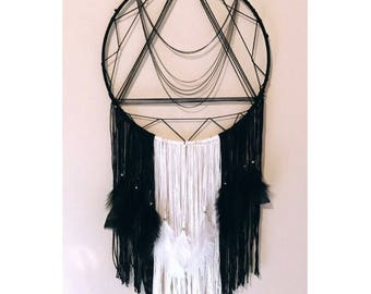 Beautiful Nightmare • Black White Bohemian Dreamcatcher