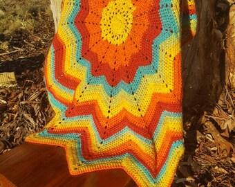 12 point crochet round ripple blanket
