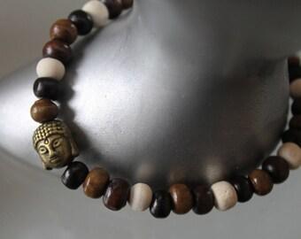 men's bracelet. wooden Bead Bracelet Buddha .bracelet. boho bracelet. Buddhist bracelet. bronze charm - zen. brown black white