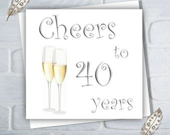 Wedding Anniversary Card, 10th, 25th, 30th, 40th, 50th, Cheers, Anniversary Card, Free UK Shipping