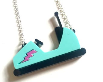 Bumper car necklace, acrylic necklace, laser cut, plastic jewellery, turquoise, retro style, statement necklace, fun gift, bumper cars