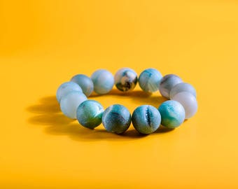 Blue Quartz Bracelet, Blue Crackled Quartz Bead, Something Blue, Sparkly Quartz, Bridal Bracelet, Profits Donated to Charity