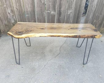 Live Edge Black Walnut Bench OR Table With Cooper Inlay and Custom Hairpin Legs