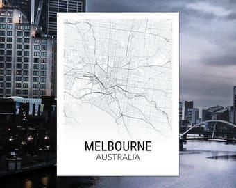 Melbourne Australia Map Print