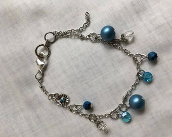 Blue and silver charm bracelet