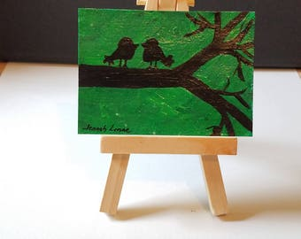 Love Birds Glow in the Dark Art , Artist Trading Card, Affordable art