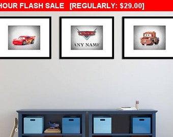 Personalized Set of 3 Cars Disney prints, cars, cars Disney, boys room decor, cars 3, Lighting McQueen, cars poster, cars print, cars canvas