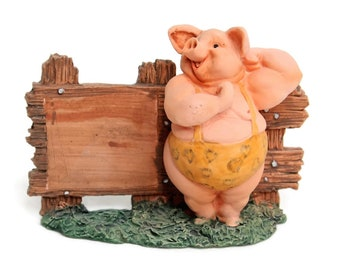 Small Garden Figurine/Statue and Home Decor-Funny Sexy Garden Pig Figurines -Size 3.5''Tall. Also Great for Easy DIY Desktop Photo Holder