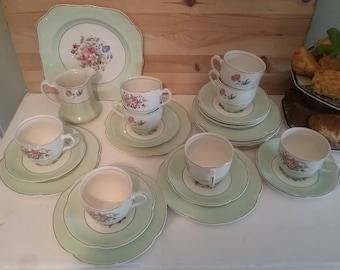 Pastel green tea set, Johnson Bros Pareek