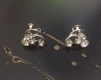 Vintage Silver Tone Continental Faux Diamond Screw Back Earrings 1960s
