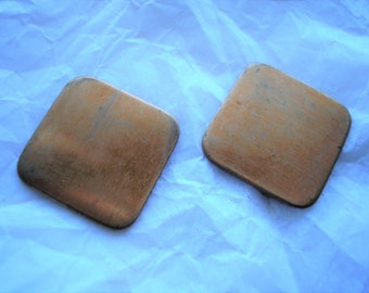 "Rounded Copper Squares, 7/8"" Diameter, Two Squares, Copper for Enameling, Destash Enameling Supplies, Copper Enameling Supply, Earring Blank"