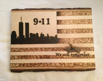 9/11 Wood Burned American flag