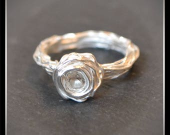 Silver Syringe Rose CZ Ring - Silver Precious Metal Clay (PMC), Handmade, Ring - (Product Code: ACM096-17)