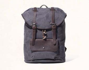 Waxed Canvas Backpack/ Leather Backpack Man/ Leather Backpack/ Laptop Canvas Backpack/ Leather Satchel Backpack/ Macbook Bag
