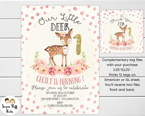 Little deer birthday invitation our little deer is turning one il570xn filmwisefo