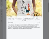 Mom life got me feelin' like Hei Hei shirt design -  Cricut Design Space Project file.