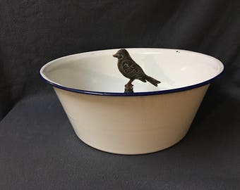 Graniteware Blue & White Basin Bowl Extra Large Enamelware Bowl Farmhouse Decor, Country Cottage, French Country