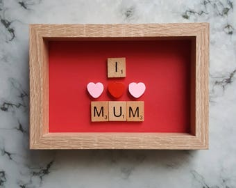 I Love Mum Scrabble Art Picture, Oak Effect Frame 6x4, Wall Art, Scrabble Tiles, Mother's Day Gift