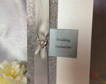 Wedding Invitations Silver Glitter ans Satin Ribbon