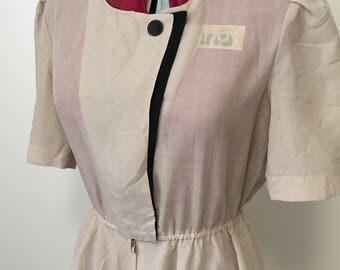 Vintage 1990s 'Love Modocc' Japanese cream & black tea dress.  Size Small/medium