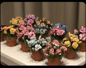 Miniature clay potted flowers