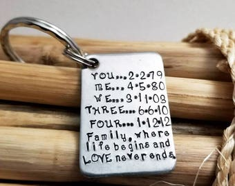 Anniversary Key Chain, Gift for Husband, Men's Personalized, Gift for Anniversary, Iron Anniversary, Sixth Anniversary