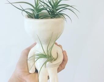 Little dude pot, ceramic planter, pot