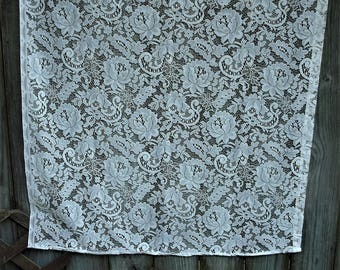 White Lace Curtain Panels, Vintage Curtains, Shabby Chic Curtains
