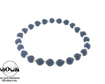 Small dark blue faceted bracelet and silver faceted.