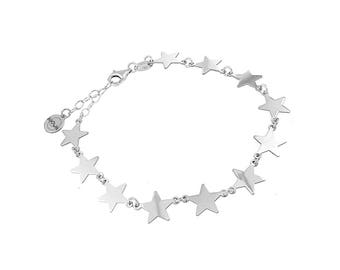 Women's bracelet with stars, in silver 925 hypoallergenic, original Moun jewels. Gift Idea for Christmas. Made in Italy.