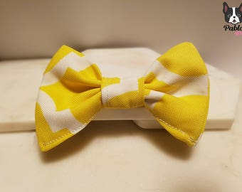 Bright || Sunny ||  Cat or Dog BOW TIE || Attach on Collar ||  in 'It was all YELLOW' Made by Pablo Pets || French Bulldog Model
