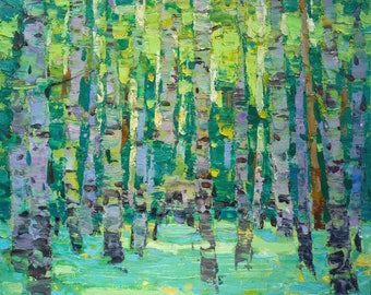 Summer forest painting Plein Air Painting landscape painting Oil on canvas Green Small painting art Home decor Original Gift for her