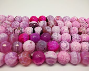 Agate 12mm Faceted Agate Pink Agate Beads 12 mm Beads for Jewelry Making Pink Beads Big Beads Hot Pink Beads Mala Beads For Bracelets DIY