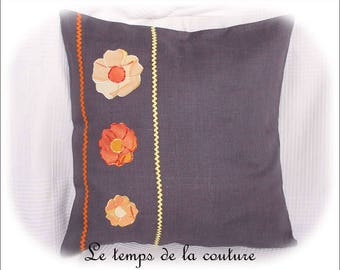 Square Cushion cover - grey, orange and yellow tones - handmade.