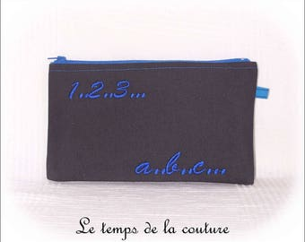 Infant - School - zipped - flat black and blue pouch - handmade.