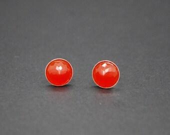 Red Onyx Stud Earrings - Sterling Silver - 8mm
