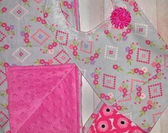 Minky Baby Blanket Gift Set/ Baby Girl Gift Set/ Aztec Baby Set/ Minky Baby Blanket / Burp Cloth/ Bib/ Baby Shower Gift Girl/ Baby Girl