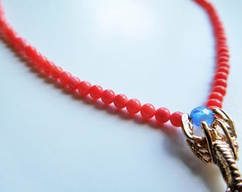 necklace coral beads and gold