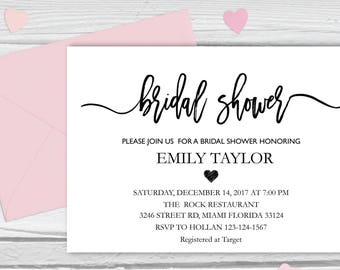 Bridal Shower Invitation, Printable Bridal Shower, Bridal Shower Card, Instant Digital Download File, Flower Bride DIY, Bridal Cards White 4