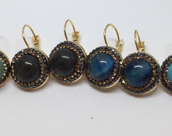 Gemstone Drop Earrings with Rhinestone Detailing, Gold Hook Bezel & Snap Clasp