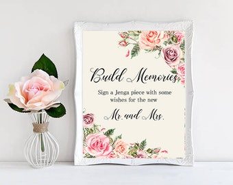 Build Memories Wedding Sign Digital Floral Blush pink Peach Wedding Boho Printable Bridal Decor Gifts Poster Sign 8x10 - WS-032