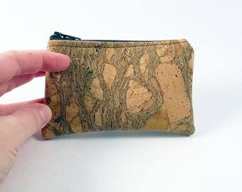 Natural Cork- Coin Purse - Zipper Coin Pouch - Cute Coin Purse - Change Wallet - Zipper Bag - Card Wallet- Gift Idea- Birth control case -