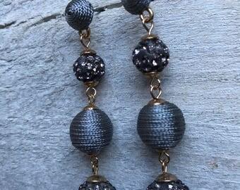 Sarnic Crystal and grey silk threaded Ball Drop Earrings - OOOOO86