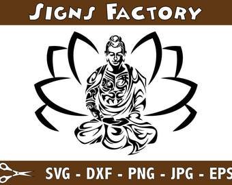 Yoga SVG file- Meditation Silhouette- Cricut or Cameo- Download Digital- pdf, png, eps, dxf, svg files- Mandala clipart, Flower of Life svg