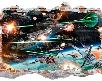 Star Wars Space Battle Smashed Wall Sticker, Wall Decals