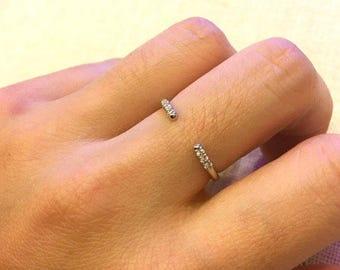 14k gold open cuff ring, Open midi ring gold, 14k Rose Gold Engagement Ring, Diamond Wedding Band, Simple Diamond Wedding Ring,