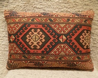 16x24,antique handwoven soumak lumar pillow,decorative unique cushion,organic wool pillow,turkish rug pillow,vintage pillow,