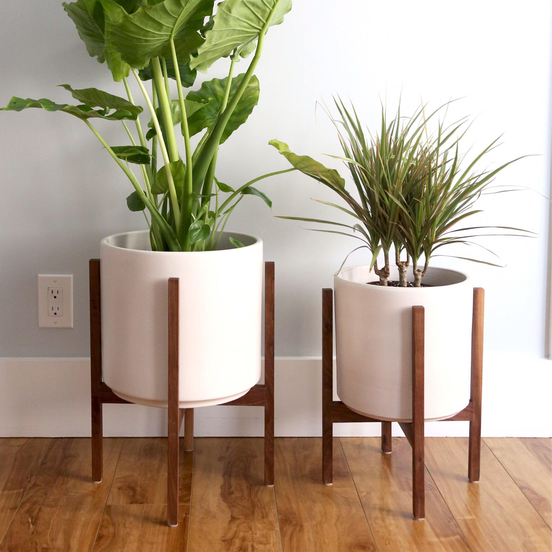 large mid century modern planter with walnut or oak wood. Black Bedroom Furniture Sets. Home Design Ideas