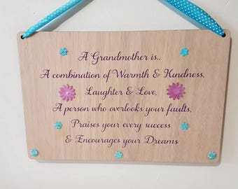 A Grandmother is love Mothers day Grandmother Gift Grandparents Gift Gift for Grandma Wooden family Sign Wood family Sign Mothers Day Gift