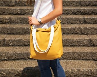 Large leather bag, Large zipper tote, Leather Laptop bag, Yellow cross body tote, Supple yellow bag, boho bag - NAPOLI Bag